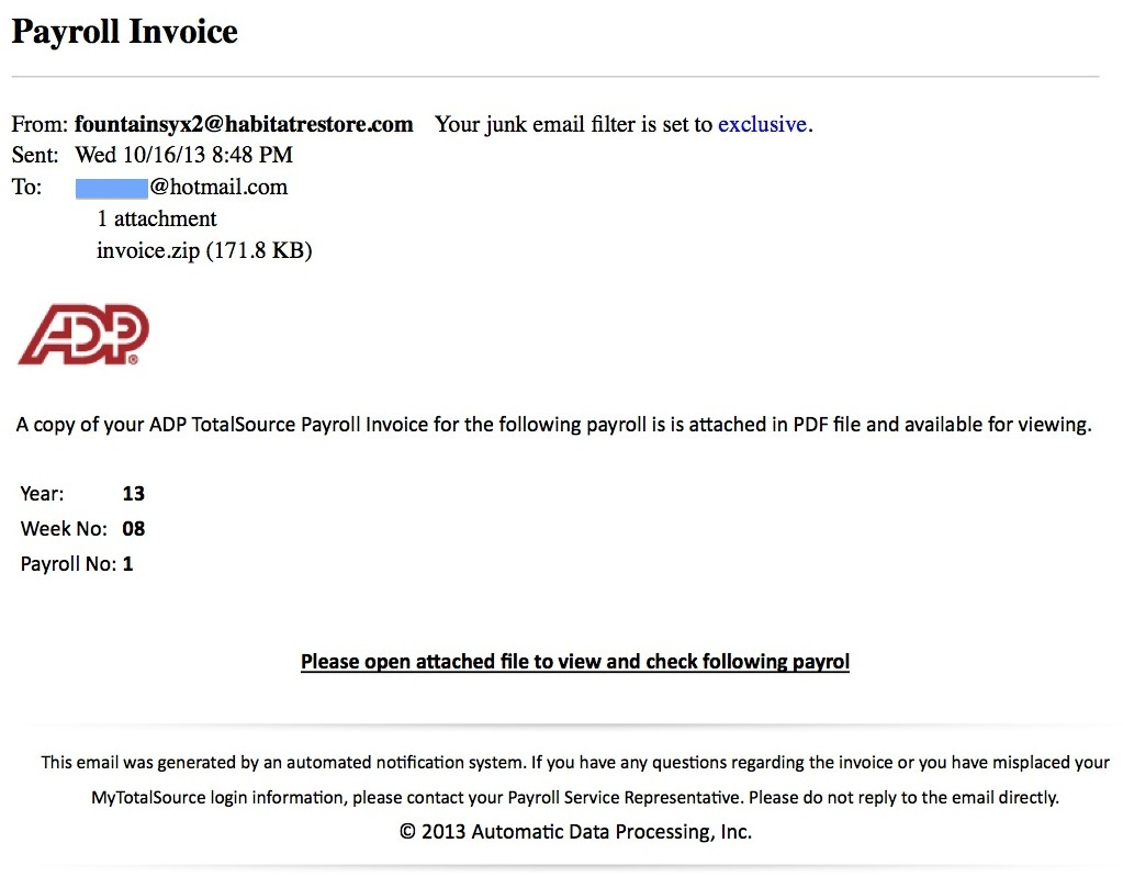 Invoice Template Word Document The Phishing Gallery  November   The Security Advocate Certified Mail With Return Receipt Cost with What Are Invoice Fake Adp Payroll Message Free Invoice Maker Download Word