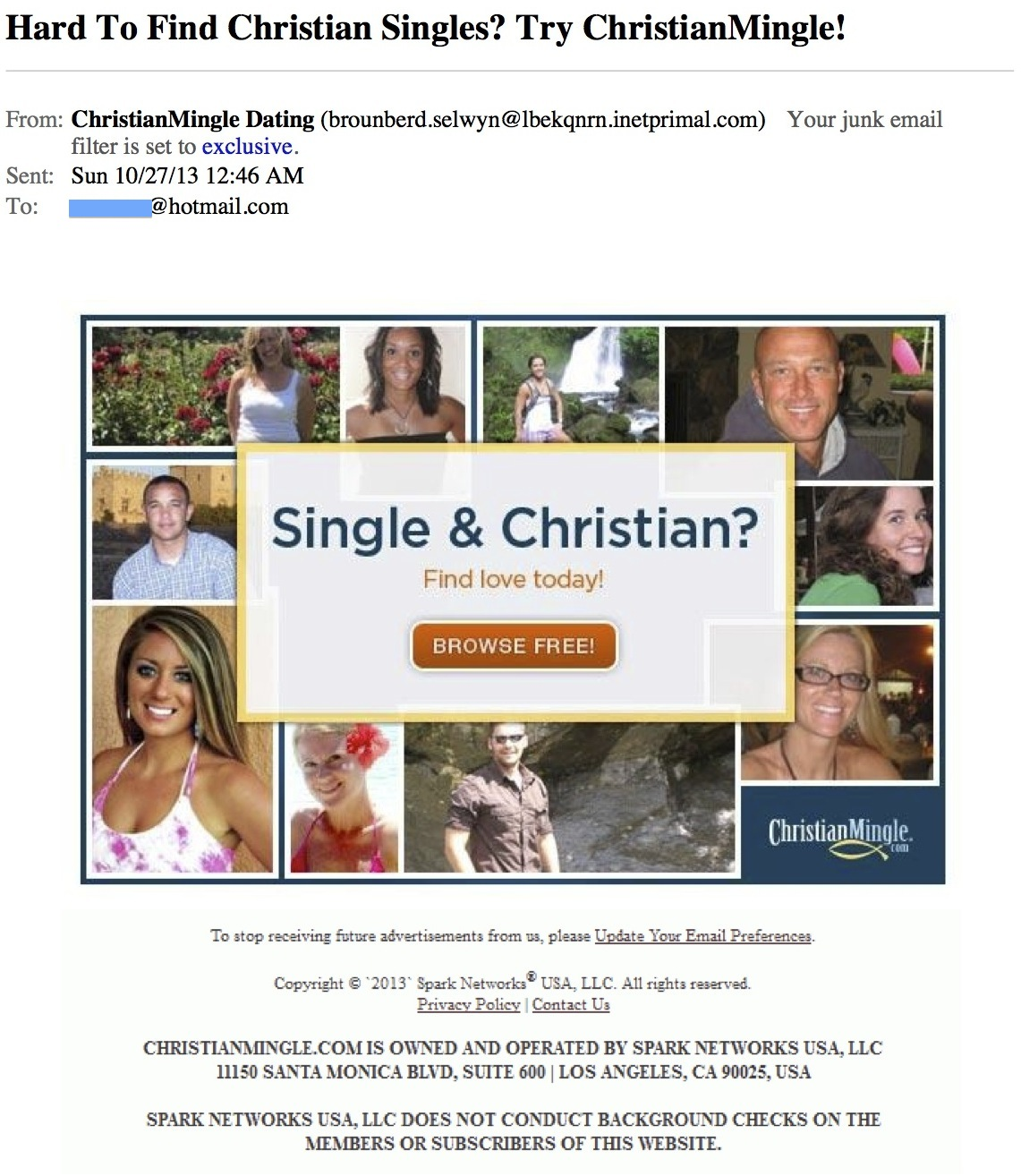 Dating on christian mingle