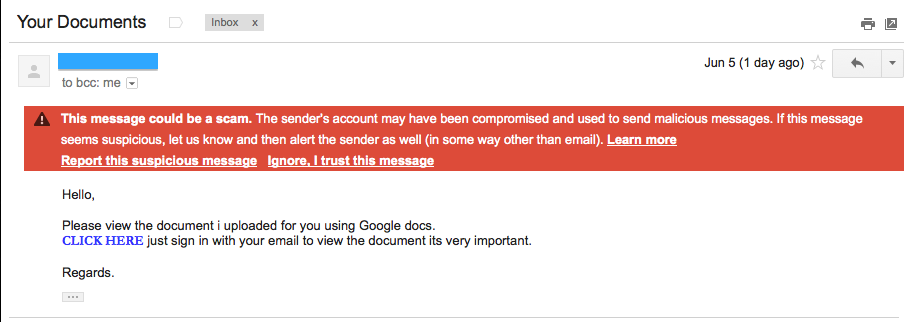 Receive an Email with an 'Important' Google Docs Link? Read